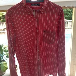 Nautica red button up long sleeve casual-dress